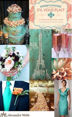 Rustic teal and salmon inspiration for wedding with French influences, how pretty is the petal aisle?!
