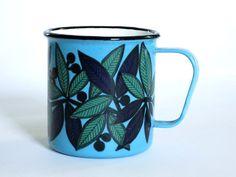 Turquoise Finel Finland Enamel Mug  /  Mid by SwirlingOrange11