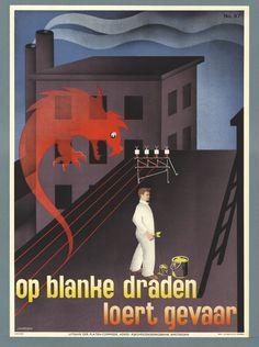 Titel:Op blanke draden loert gevaar Maker: designer:   Strelitskie Trefwoord: Arbeidsomstandigheden Bedrijfsveiligheid Veiligheidsmuseum (Amsterdam) Periode onderwerp:1939 - 1939