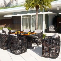 Skyline Design Dynasty 7 Piece Dining Set with Sunbrella Cushions Cushion Color: Sunbrella Canvas Capri 5426