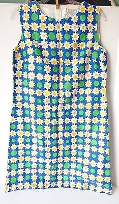 Vintage Daisy Dress Adorable White Daisies Blue w Green Fabric from 1970s Sz 10 | eBay
