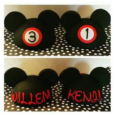 Mickey Mouse Mouseketeer hat cakes made from Wilton ball pan , Wilton's black fondant , Wilton's shape n amaze red and white. The Disney font cutters were bought on Amazon