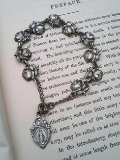 Rosary Saints Bracelet Antique Miraculous Medal Sacred by VinLizzy