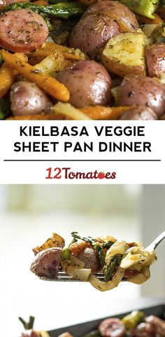 Kielbasa Veggie Sheet Pan Dinner-  Saw this recipe and you both came to my mind!
