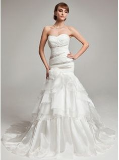 Wedding Dresses - $234.99 - Trumpet/Mermaid Sweetheart Court Train Organza Wedding Dress With Beading Cascading Ruffles  http://www.dressfirst.com/Trumpet-Mermaid-Sweetheart-Court-Train-Organza-Wedding-Dress-With-Beading-Cascading-Ruffles-002017563-g17563