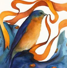 ❥ Bluebird with Ribbon~ {Amber Alexander} ~blues and golds~