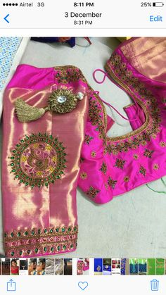One of my creations Best Blouse Designs, Silk Saree Blouse Designs, Saree Blouse Patterns, Designer Blouse Patterns, Bridal Blouse Designs, Maggam Work Designs, Blouse Models, Beautiful Blouses, Work Blouse