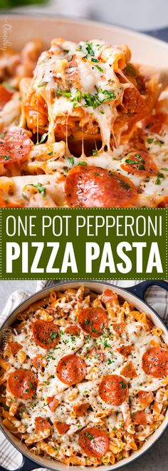One Pot Pepperoni Pizza Pasta | Everything you love about pepperoni pizza, in a fun, kid-friendly pasta dish, made in one pot, in 30 minutes, and loaded with gooey cheese! | https://thechunkychef.com | #pasta #pizza #onepot #weeknightmeal #30minutemeal