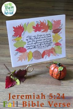 Autumn is only mentioned in the Bible a few times. Let's cozy up with the Lord and see what He wants us to know about this season. Read more ... Jeremiah 5, Writing Plan, Lord And Savior, Scripture Verses, Christian Women, Hand Lettering, Autumn, Fall, Christmas Bulbs