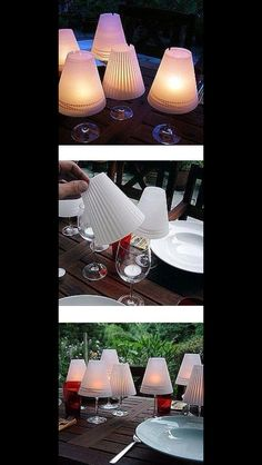 Wine glass tea lights