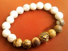 Picture Jasper  Natural Howlite Beaded Mens Fashion Bracelet Handmade Gold plated Lion Head