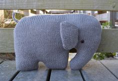 Elephant Pillow ♥ Nursery Pillow ♥ Elephant Cushion ♥ Stuffed Elephant ♥ Knit Stuffed Animal ♥ Elephant Shaped Pillow ♥ Kids Pillow ♥ Baby Pillow ♥ Elephant Decor ♥ Baby Shower Gift ♥ Baby Gift ♥ Knit Elephant ♥ Knit Pillow ♥ Handmade Pillow    This adorable, stuffed elephant cushion is hand-knitted with wool and acrylic blended fibers. This nursery pillow has a very soft pillowed body, measuring 18 inches (46 cm) wide. His 15 mm brown safety eyes are securely attached to his body*   This…