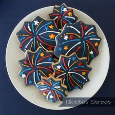 Fourth of July decorated sugar cookies. Royal icing. Red, white, blue, yellow.
