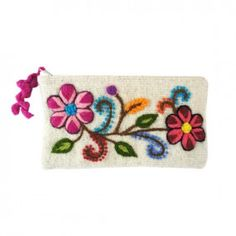 Peruvian Embroidered Clutch - Off White