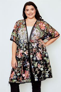 d126882ffa1 Plus size black sheer floral embroidered waist tie kimono - cardigan