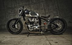 Triumph bobber by Helrich Custom Cycles. Photo by David Miller Photoworks Triumph Bobber, Triumph Bikes, Triumph Bonneville, Scrambler Custom, Custom Bobber, Custom Motorcycles, Bobbers, Cafe Racers, Choppers