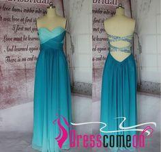 A-line Peacock Green Ombre Prom Dress,2016 Prom Dresses, Long Chiffon Cheap Ombre Evening Dress,Ombre Bridesmaid Dresses CBD001