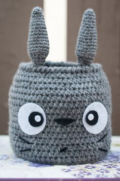 This Totoro basket is soft and ideal for nursery use. The ears make for little handles for small hands and it can hold a few small toys. It can also be used as a gift basket or just a cute, decorative way to be organized even for us adults. ^_^  Size : It is 6inches in diameter and 8.5inches tall(from base to tip of ear).  Care : For the preservation of the felt used on this product, I would recommend that it be gently hand washed without wringing and air dried or surface cleansed with a…