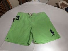 Polo Ralph Lauren green swim trunks shorts Men's XL $79.50 Green Logo horse NEW  #PoloRalphLauren #Trunks