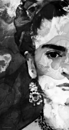 #fridakahlo #frida Black And White Frida Kahlo by Sharon Cummings