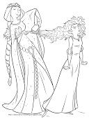 Free, printable Merida coloring pages, Merida activity sheets and Brave party invitations featuring Merida from the Disney / Pixar movie Brave.