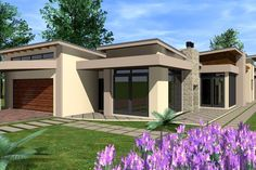 Open House Plans, House Layout Plans, Family House Plans, Dream House Plans, Flat Roof House Designs, Small House Design, Morden House, House Plans South Africa, 5 Bedroom House Plans