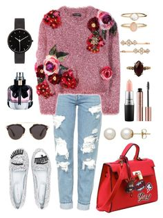 """Flowers!!"" by julianamarquez ❤ liked on Polyvore featuring Topshop, Dolce&Gabbana, Christian Dior, Chiara Ferragni, Yves Saint Laurent, Honora, I Love Ugly, MAC Cosmetics, Chan Luu and Accessorize"