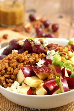 Wheat Berry Waldorf Salad- only need or less of the dressing recipe for the entire salad recipe Clean Recipes, Veggie Recipes, Fall Recipes, Vegetarian Recipes, Alkaline Recipes, Healthy Recipes, Healthy Chef, Healthy Cooking, Healthy Eating