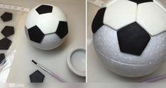 Your Cake. Balón de Fútbol Cake Football, Football Themed Cakes, Football Cake Toppers, Football Birthday Cake, Soccer Birthday Parties, Fondant Girl, Soccer Ball Cake, Fondant Tutorial, Cake Decorating Tutorials
