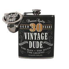Vintage Dude Flask Aged 30 Years | Wally's Party Factory #30 #vintage #flask #birthday