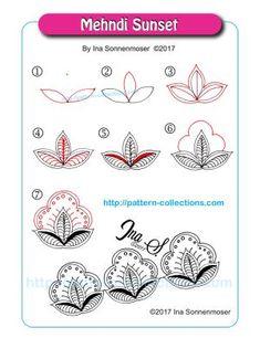 Mehndi Sunset by Ina Sonnenmoser - zentangle Zentangle Drawings, Doodles Zentangles, Doodle Drawings, Doodle Art, Flower Drawings, Zen Doodle Patterns, Mandala Pattern, Zentangle Patterns, Doodle Borders
