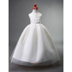 Ball Gown Bateau Floor-length Satin Flower Girl Dress – US$ 97.99