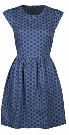 Blue Polka Dot Denim Cap-Sleeve Dress