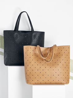 Perforated tote bag with a removable pouch for small essentials