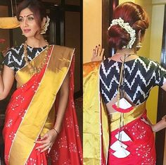Shop for a variety of blouses in high neck, sleeveless, boat neck, sleeveless, embroidered & more online. Blouse Designs High Neck, Fancy Blouse Designs, Saree Blouse Designs, Saree Wearing Styles, Saree Styles, Blouse Styles, Stylish Blouse Design, Designer Blouse Patterns, Stylish Sarees