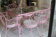 WOODARD-Wrought-Iron-CHANTILLY-ROSE-7-pc-dining-set-glass-top-table-6-chairs