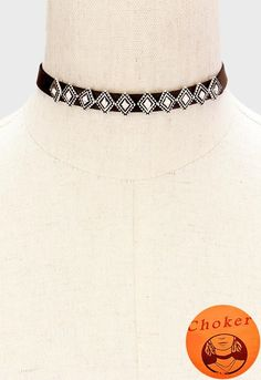 Metal Diamond Deco Leather Choker Necklace - Silver