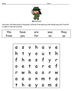 """FREE LANGUAGE ARTS LESSON - """"Fry Words Word Finds"""" -  Go to The Best of Teacher Entrepreneurs for this and hundreds of free lessons.  http://www.thebestofteacherentrepreneurs.net/2014/03/free-language-arts-lesson-fry-words.html"""