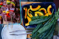 Grilling beef kebobs, kabocha squash, and kale - YUM