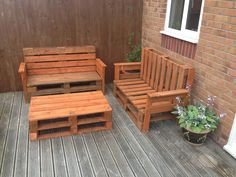 Garden benches and table #Bench, #Pallet, #Sofa, #Table