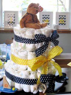 diaper cake, baby shower, yellow and navy