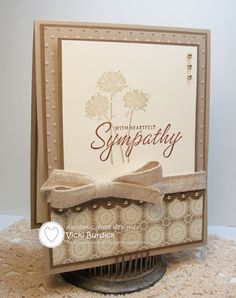 Stamp sets: Happy Harmony, Close as a Memory - Cardstock: Crumb Cake, Soft Suede, Very Vanilla - Ink: Crumb Cake, Soft Suede - Other: Dots EF, Print Poetry DSP, Scallop Border punch, Naturals Trim ribbon, small gold half pearls.