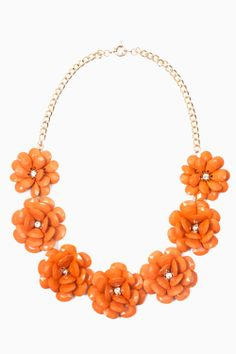Floral statement necklace featuring jewel embellishment, gold chain and an adjustable fasten. Perfect for working a showstopping style with that party dress or over a vest top for a simple effective outfit. Floral Necklace, Gold Chains, Style Inspiration, Jewels, Orange, Simple, Minions, Pretty, Party Dress