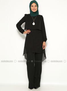 46c1c0bbb74 Pantalons & Tunique double Takı Do - Noir - Ensemble - Modanisa Mom  Outfits, Hijabs