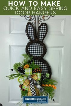 Need to freshen up your spring door decor selection? These spring door hangers come together quickly to fill the gaps in your spring supply. Diy Spring Wreath, Spring Crafts, Holiday Crafts, Double Door Wreaths, Deco Mesh Wreaths, Make Your Own Wreath, How To Make Wreaths, Make A Door, Easter Wreaths