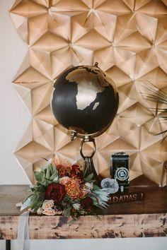 DIY geometric paper backdrop - photo by Megan Saul Photography http://ruffledblog.com/best-of-2015-diy-projects