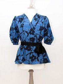 Vintage Blue/Black Wraparound Top from Lallys Closet - £11