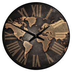 This world map clock has a gritty, grungy, industrial feel. It looks like it belongs in a LOFT. The background looks like cement.It is available in many sizes. The colors are dark grays, blacks and tans. Clocks Back, Big Clocks, Clocks For Sale, Large Clock, Industrial Clocks, Rustic Clocks, Oversized Clocks, World Clock, Wooden Clock