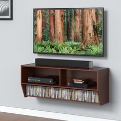 Fitueyes Universal Tv stand Wall Mounted Audio/Video Console wood grain for Samsung LG Vizio TVs DS210301WB, Brown
