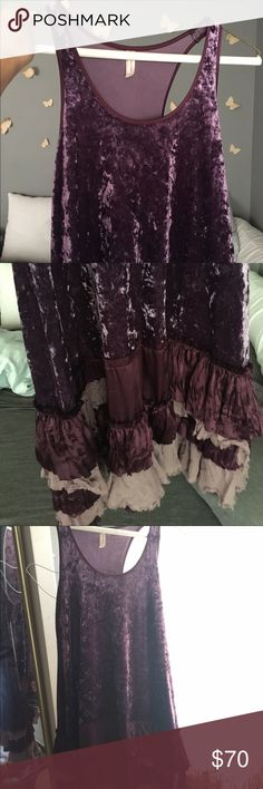 free People Velvet Dress Deep purple velvet color dress with a cute layered skirt in true free people style. Dress up for an evening out or dress it down Roth a sweater and your fall boots. Free People Dresses Mini